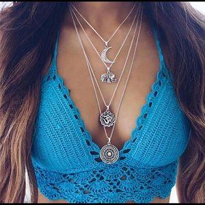 Multi layered sum moon elephant choker necklace 🆕
